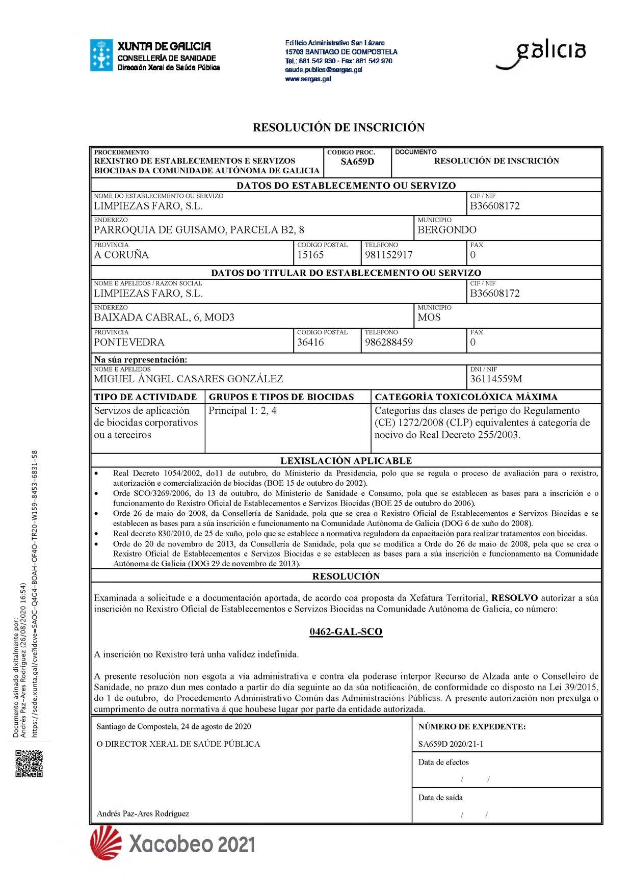 FARO OBTIENE LA INSCRIPCIÓN EN EL ROESB DE GALICIA 0462-GAL-SCO