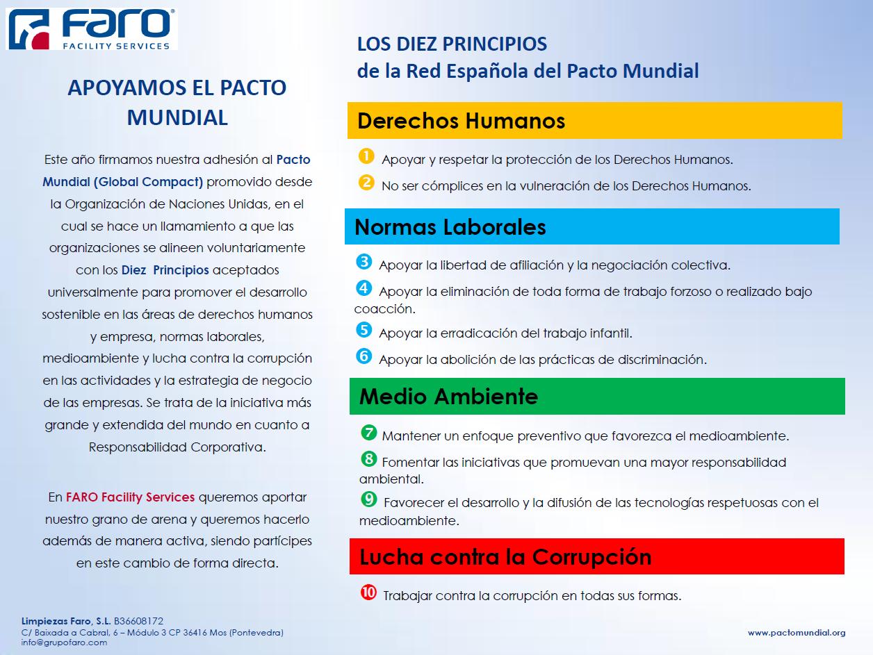 FARO Facility Services apoya el PACTO MUNDIAL ( GLOBAL COMPACT)