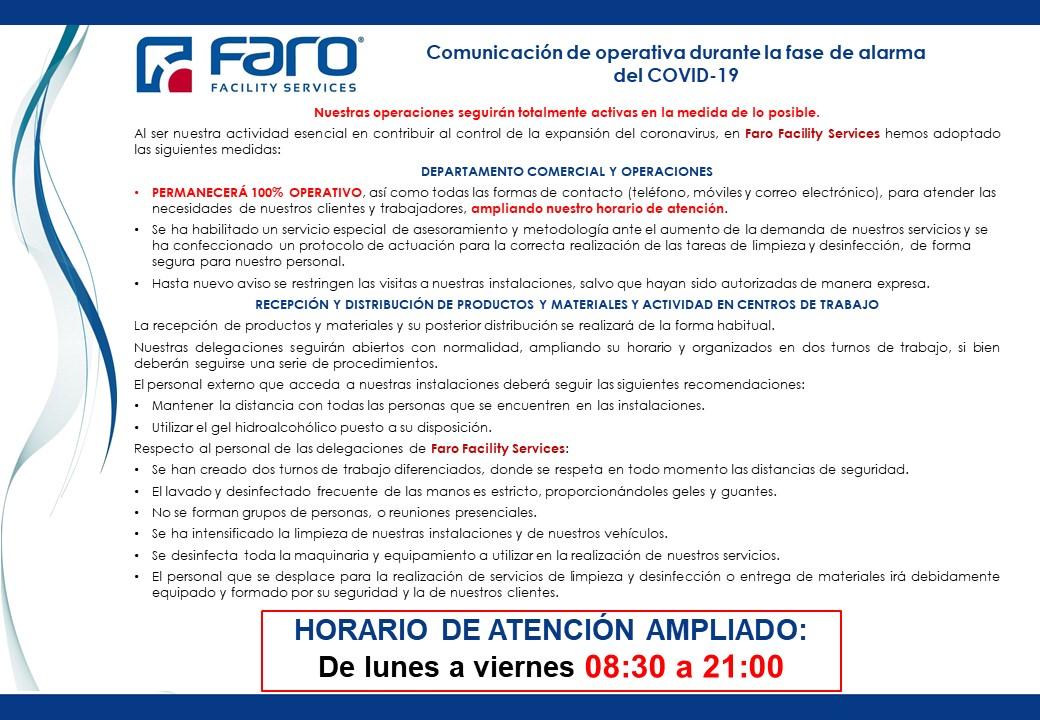 COMUNICACIÓN OPERATIVA FARO FACILITY SERVICES DURANTE LA FASE DE ALARMA DEL COVID-19